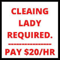 CLEANING LADY REQUIRED FOR A ONE TIME UNIT CLEANING. PAY $20/HR