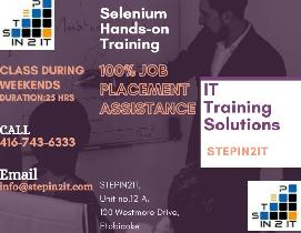 Selenium Training and Job Placement in Toronto-New batch 16 Jan