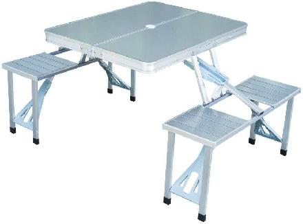 Outdoor Aluminum Portable Folding Camp Suitcase Picnic Table wit