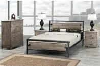METAL BED WITH DISTRESSED GREY
