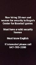 NOW HIRING FOR ROGERS CENTER SECURITY