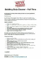 Building Duty Cleaner - Casual (Urgent Hiring)