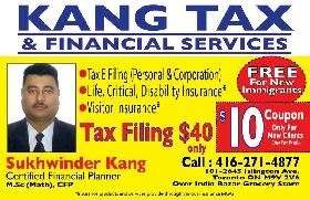 Income tax efilling for $30.00, Call Mr. Singh at 4162714877e