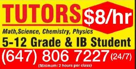 Tutors $8/hr (and up) Math and English (In Scarborough M1G3G6)G