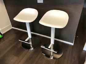2 BAR STOOLS (WHITE/SILVER) for SALE