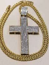 Flooded diamond cross pendant and franco chain 10k Italian gold