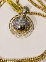 Diamond spinning globe pendant and franco chain 10k