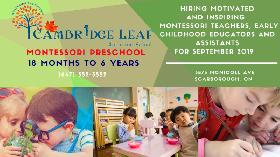 Looking for RECE & Montessori Teacher